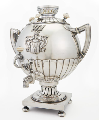Fabergé Silver Samovar, Moscow, 1908-1917, Coat of arms of the Berdyaev family. Estimate: $35,000-55,000.