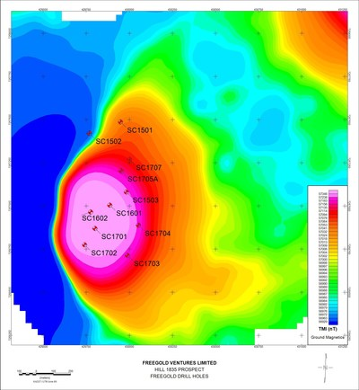 DRILLING AT SHORTY CREEK INTERCEPTS 165 METRES GRADING 0.60% CU EQUIVALENT - Map Showing Location of Drill Holes - Hill 1835 (CNW Group/Freegold Ventures Limited)