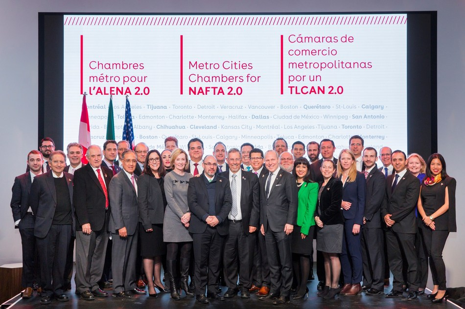 The leaders of 25 metropolitan chambers of commerce from Canada, the United States and Mexico gathered in Montreal today in anticipation of the next round of NAFTA negotiations. (CNW Group/Board of Trade of Metropolitan Montreal)