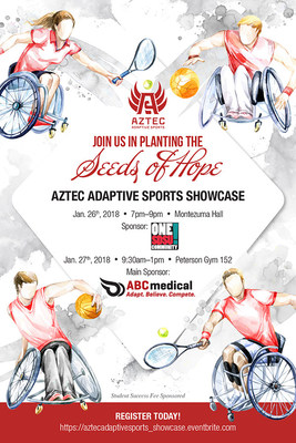 Aztec Adaptive Sports Showcase will be held, January 26-27, 2018 at San Diego State University, will be free and open to the public. For registration, please visit https://aztecadaptivesports_showcase.eventbrite.com.