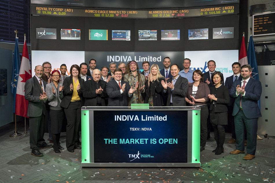 Niel Marotta, CEO, INDIVA Limited (NDVA), joined Eric Loree, Team Manager, Listed Issuer Services, TSX Venture Exchange, to open the market. INDIVA is a Canadian supplier of medical grade cannabis. INDIVA's wholly owned subsidiary is a Licensed Producer under Canada's Access to Cannabis for Medical Purposes Regulation (ACMPR) with its first indoor cannabis production facility located in London, Ontario. INDIVA Limited commenced trading on TSX Venture Exchange Exchange on December 19, 2017. (CNW Group/TMX Group Limited)