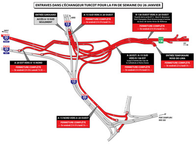 Entraves dans l'échangeur Turcot pour la fin de semaine du 26 janvier (Groupe CNW/Ministère des Transports, de la Mobilité durable et de l'Électrification des transports)