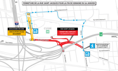 Fermeture de la rue Saint-Jacques pour la fin de semaine du 26 janvier (Groupe CNW/Ministère des Transports, de la Mobilité durable et de l