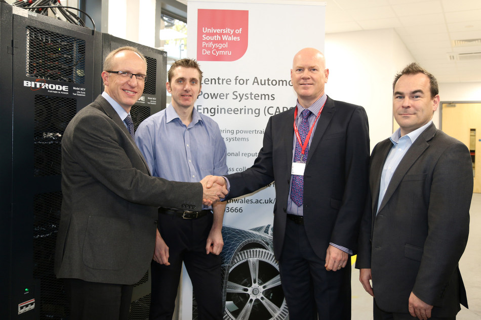 (Left to right): Adrian Greaney (Ricardo), Jonathan Williams (University of South Wales), Professor Paul Harrison (University of South Wales), and Richard Murphy (Ricardo) (PRNewsfoto/University of South Wales)