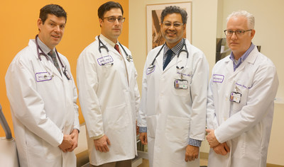 Geoffrey Webber, MD (from left), Christopher Gade, MD, Atul Sharma, MD, and Alexander Slotwiner, MD, have joined NYU Langone Hospital – Brooklyn's cardiology team.