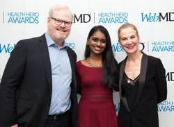 WebMD Health Hero Award presenter Jim Gaffigan, WebMD Health Hero Inventor Award recipient Kavya Kopparapu and WebMD Health Hero Award presenter Jeannie Gaffigan attend the WebMD Health Hero Awards on January 22, 2018 in New York City