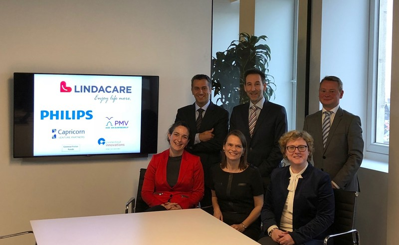 (Front-row; from left to right) Lara Koole, Philips; Katrin Geyskens, Capricorn; Diane Lejeune, PMV. (Back-row; from left to right) Shahram Sharif, LindaCare CEO; Miguel Maquieria, LindaCare CTO; Nicolas Giraud, LindaCare CFO/COO. (PRNewsfoto/LindaCare)