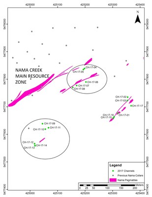 Figure 1 - Map of the Nama Creek Main Zone with channel results contained in this news release circled. (CNW Group/Rock Tech Lithium Inc.)