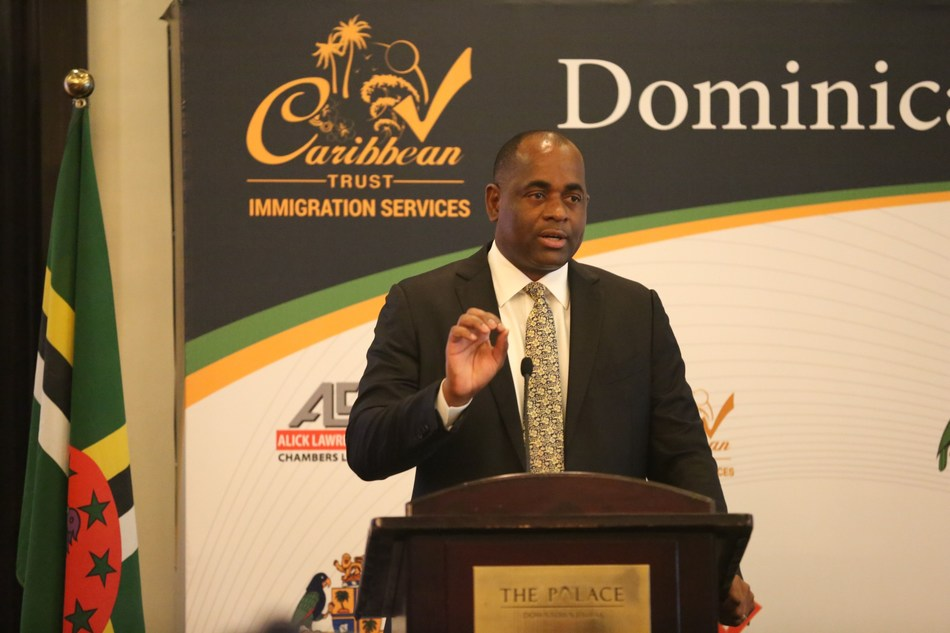 Dominica PM Roosevelt Skerrit in Dominica Citizenship Conference held by CTrustGlobal (PRNewsfoto/Caribbean Trust Immigration)