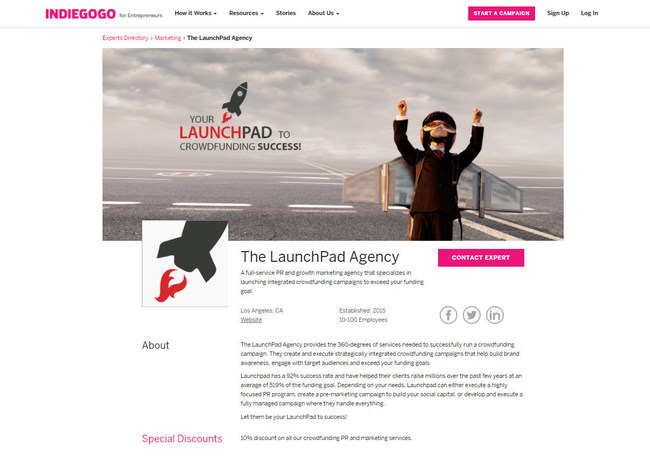 The LaunchPad Agency Joins a Select List of Indiegogo-Recommended Companies to Provide Best-in-Class Crowdfunding Services