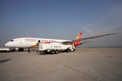 Hainan Airline adding bio fuels to its aircraft before the flight takes off from Beijing to Chicago on November 21st, 2017