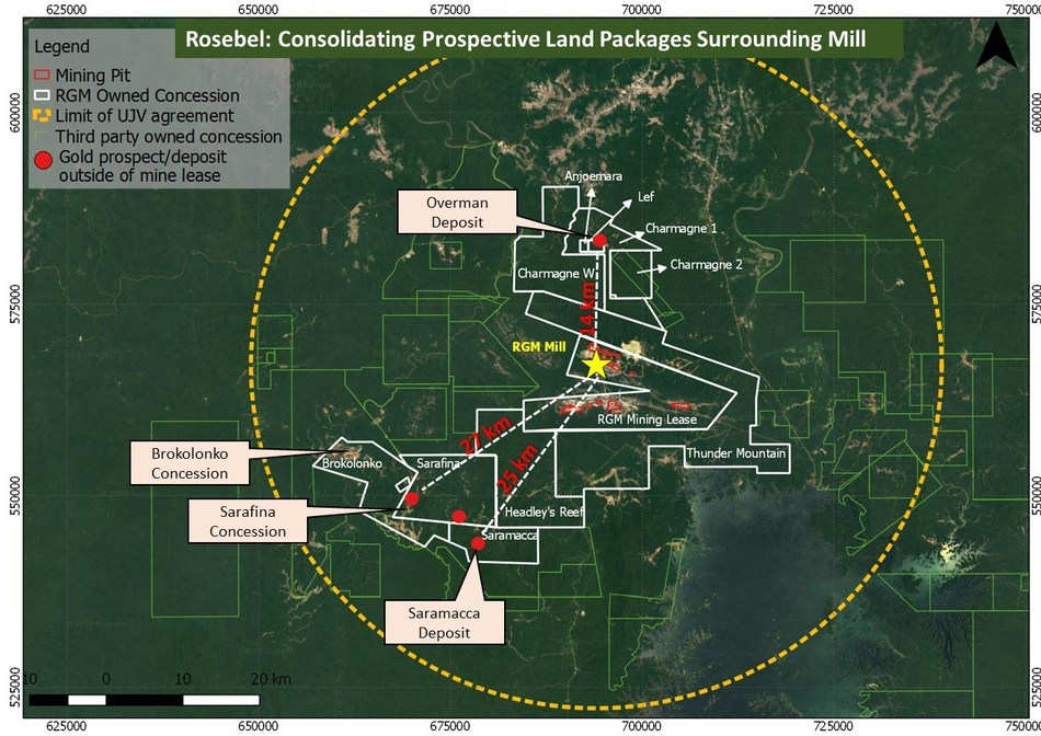 Rosebel: Consolidating Prospective Land Packages Surrounding Mill (CNW Group/IAMGOLD Corporation)