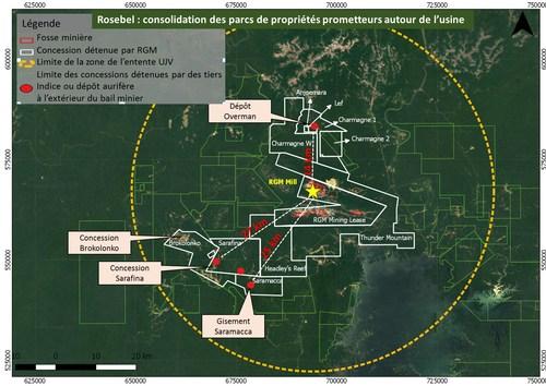 Rosebel : consolidation des parcs de propriétés prometteurs autour de l'usine (Groupe CNW/IAMGOLD Corporation)