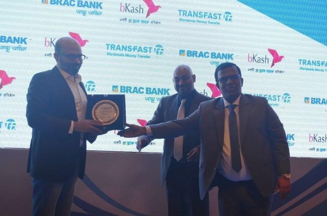 (R-L): Jinu Rajan & Khairuzzaman - TRANSFAST and Kamal Quadir - bKash