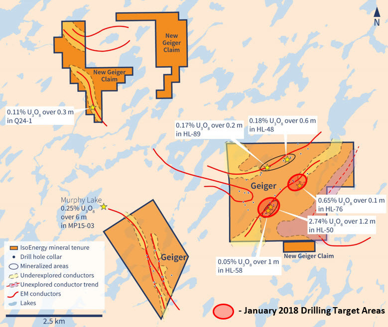 Figure 2 – January 2018 Drilling Target Areas. (CNW Group/IsoEnergy Ltd.)