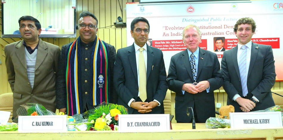 Hon'ble Mr. Michael Kirby AC CMG, Former Judge, High Court of Australia, during his public lecture at the Indian Law Institute with Justice, Dhananjaya Y. Chandrachud, Judge, Supreme Court of India and faculty members of Jindal Global Law School (PRNewsfoto/O.P. Jindal Global University)