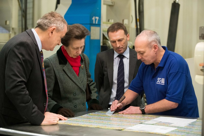HRH The Princess Royal meets staff at Scientific Games' state of the art lottery facility in Leeds, UK. The visit coincides with 40 years of scratch off instant games production in Yorkshire.