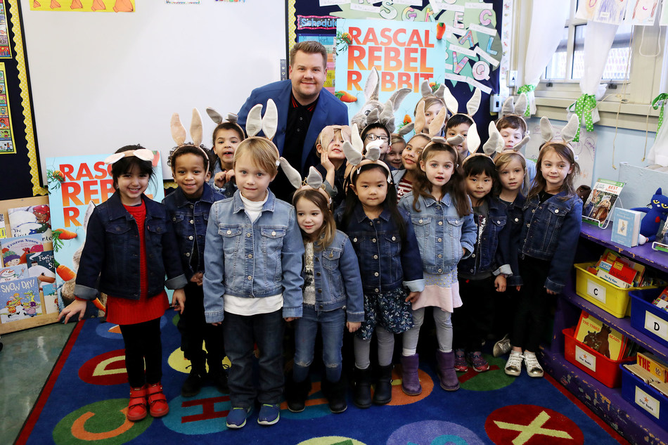 James Corden, who voices Peter Rabbit in the upcoming film, read to kindergarteners at a New York City school this morning, and announced that Peter Rabbit will team up with Take Your Child to the Library Day for Blue Jacket Day.