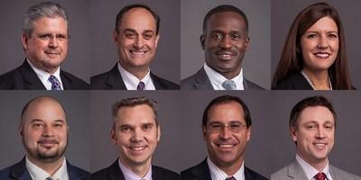 Burns & McDonnell 2018 executive leadership promotions are (top row, left to right) Randy Griffin, Bob Reymond, Oko Buckle, Renee Gartelos and (bottom row, left to right) Joe Podrebarac, Joel DeBoer, Rick Halil and Matt Ralston.