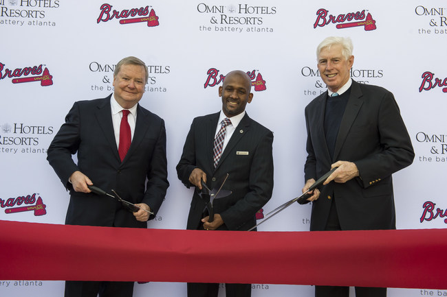 Left to right: Jim Caldwell (CEO, Omni Hotels & Resorts), Ramon Reyes (GM, Omni Hotel at The Battery Atlanta) and Terry McGuirk (Chairman & CEO, Atlanta Braves) at the ribbon cutting, celebrating the official opening of the Omni Hotel at The Battery Atlanta on January 25, 2018.