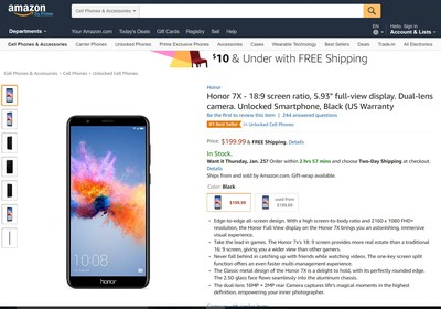 Honor 7X hits #1 Best Seller on Amazon