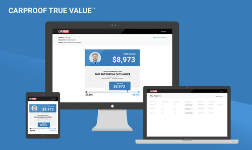 CARPROOF True Value - new online tool to help used car buyers and sellers find more accurate values of used vehicles. www.carproof.com/car-valuation (CNW Group/CARPROOF)