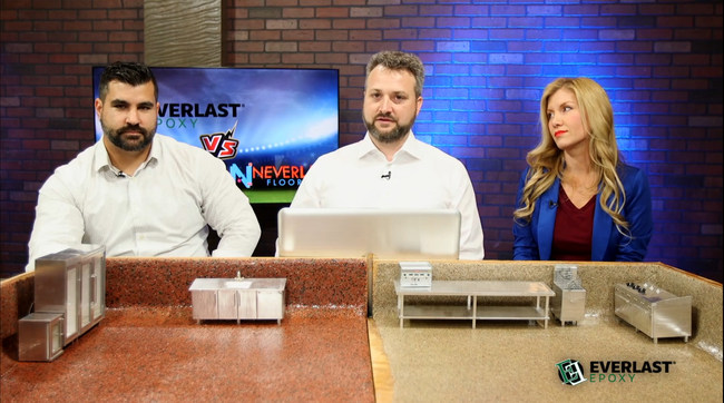 David Linton, Gerrald Lacey and Colie Knoke on the set of Everlast vs. Neverlast discussing why some commercial flooring lasts for a long time while other floors Never last.