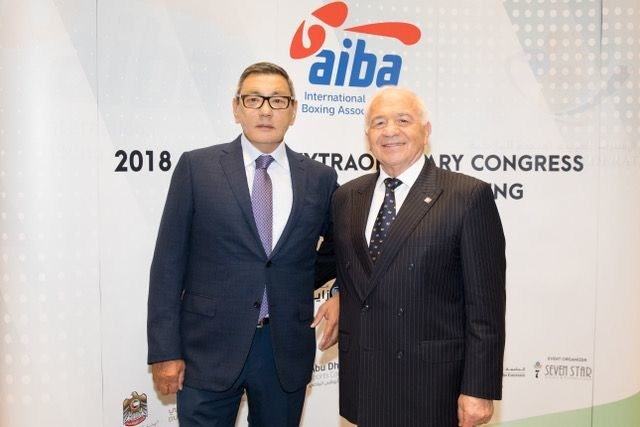 New AIBA Interim President Gafur Rakhimov (left) with his predecessor, Franco Falcinelli, at the AIBA Extraordinary Congress in Dubai. (PRNewsfoto/AIBA)