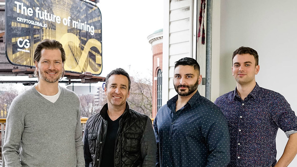 Pictured here:  CryptoGlobal founders:  President James Millership, CEO Rob Segal, COO Roozbeh Ebbadi and CTO Jacob Shultis. (Photo credit: cryptoglobal.io) (CNW Group/CryptoGlobal Corp.)