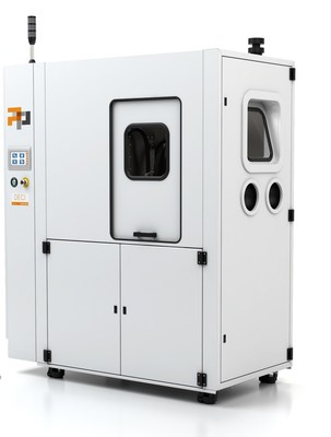 PostProcess Technologies' intelligent solutions for automated support removal and surface finishing of additive manufactured parts. Pictured here: Production scale Hybrid DECI Duo system.