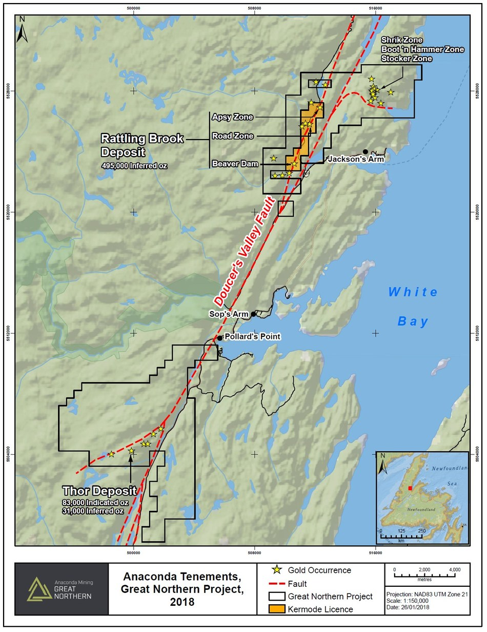 Exhibit A.  A map showing the location of the License acquired from Kermode and deposits within the Great Northern Project. (CNW Group/Anaconda Mining Inc.)