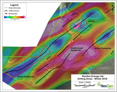 Figure 1: Winter Drilling Areas - ZTEM Resistivity - 450m Depth Slice (CNW Group/NexGen Energy Ltd.)