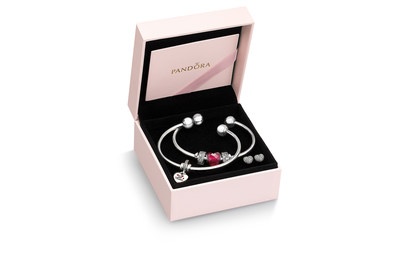 PANDORA Jewelry Stacked Open Bangle Gift Set With Be Mine Dangle Charm