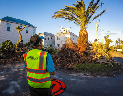 Soaring Sky Drone Pilot inspecting multi-family home after Hurricane Irma.