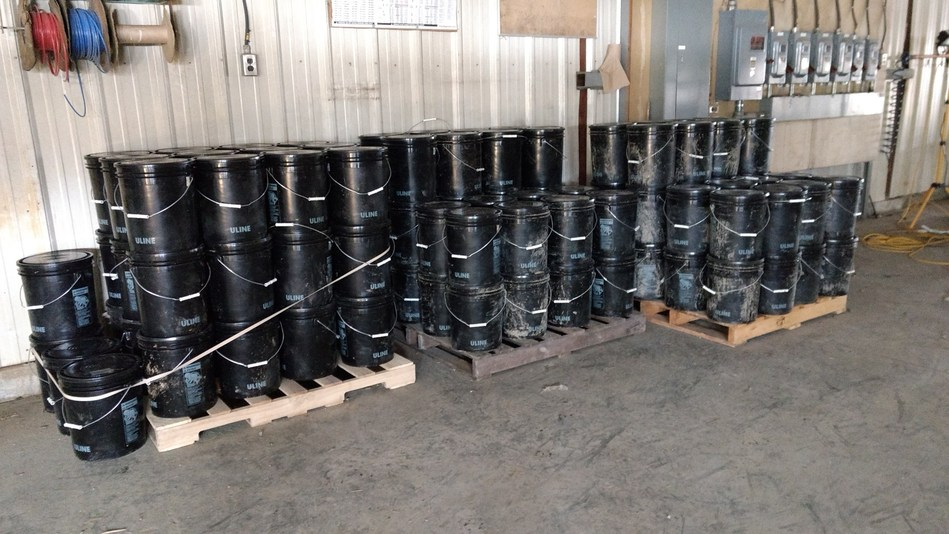 Image 1. Pails containing sample material prior to sample prep. (CNW Group/First Cobalt Corp.)