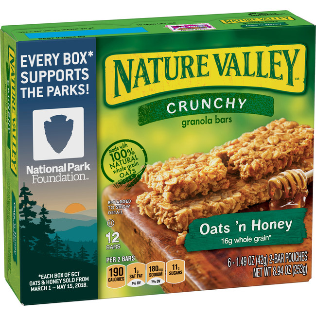 For every 6-count box of Nature Valley Oats & Honey purchased between March 1 and May 15, 2018, Nature Valley will donate $0.10 to the National Park Foundation, up to $750,000.