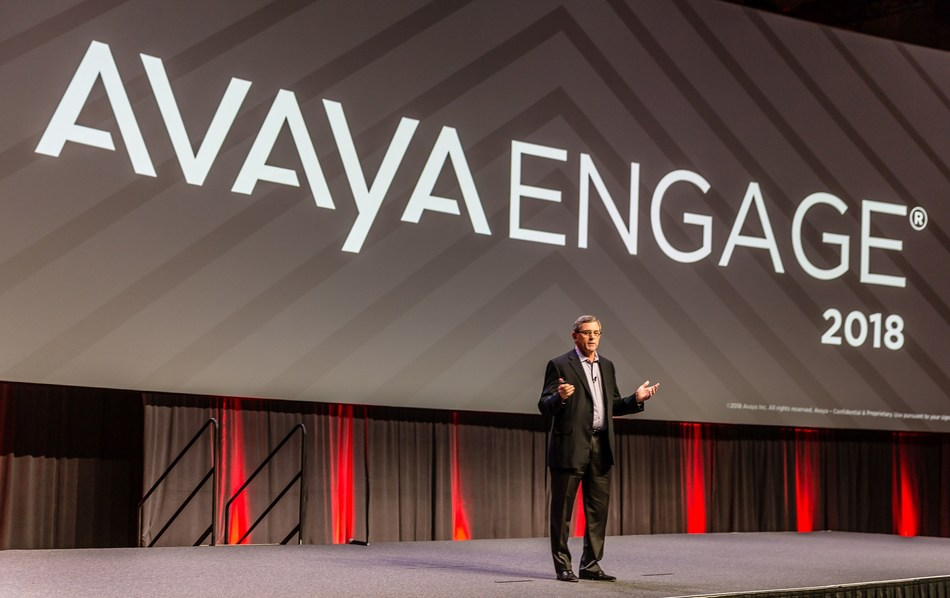 Jim Chirico, CEO of Avaya speaks to the audience about fostering innovative growth and cloud differentiation at Avaya Edge 2018 (PRNewsfoto/Avaya Holdings Corp.)