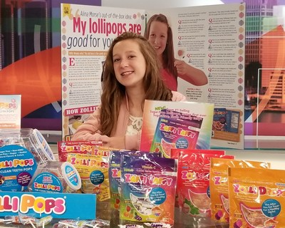 12-year-old Michigan seventh grader, Alina Morse, and her Zollipops(R) products.