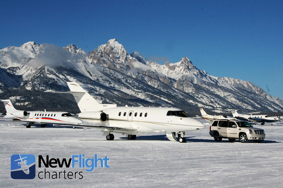 New Flight Charters private jet charter ready for departure from Jackson Hole Airport.