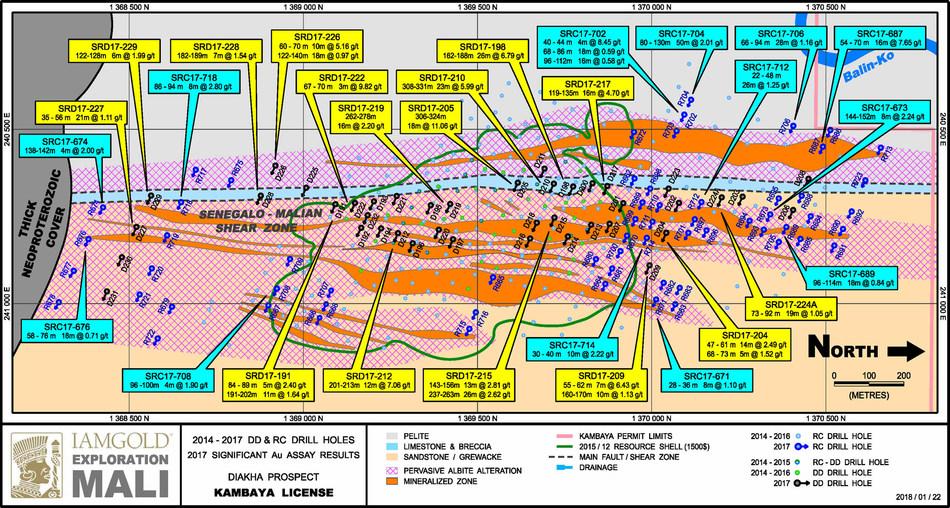 Figure 1: Diakha - Drill hole plan map (CNW Group/IAMGOLD Corporation)