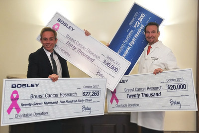 Bosley President and CEO, Rob Spurrell and Bosley Chief Medical Officer and Medical Director, Ken Washenik, M.D., during a recent celebration of the company's fundraising program on behalf of the Breast Cancer Research Foundation.