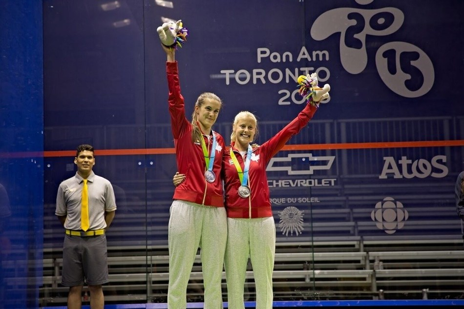 Samantha Cornett and Nikkole Todd. Photo: Squash Canada (CNW Group/Commonwealth Games Association of Canada)
