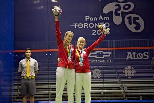 Samantha Cornett and Nikkole Todd. Photo: Squash Canada (CNW Group/Commonwealth Games Association of Canada)