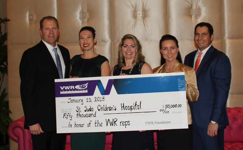 VWR Foundation President, Board and Committee Members present a $50,000 check in honor of the VWR Sales team.