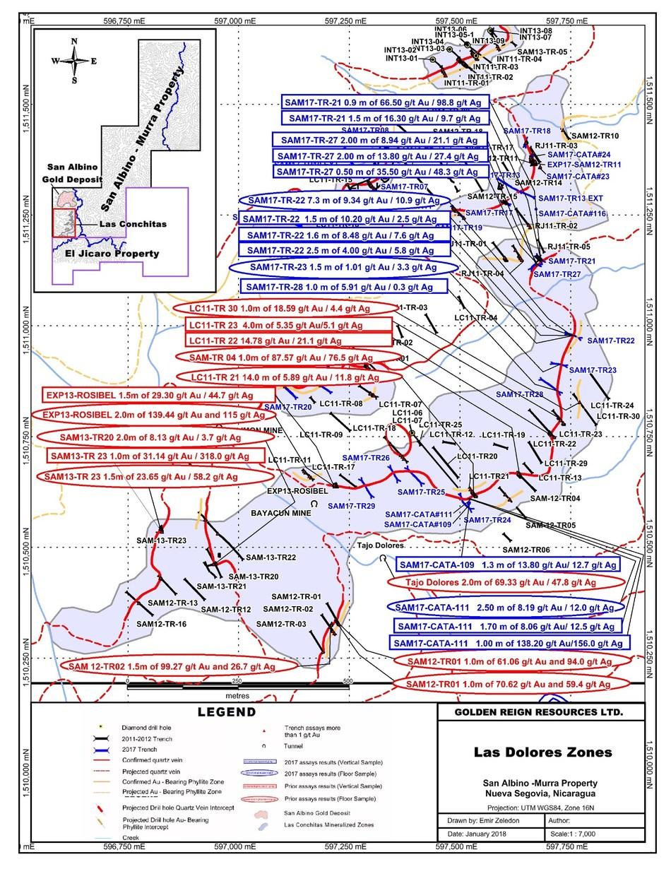 Las Dolores Zones (CNW Group/Golden Reign Resources Ltd.)