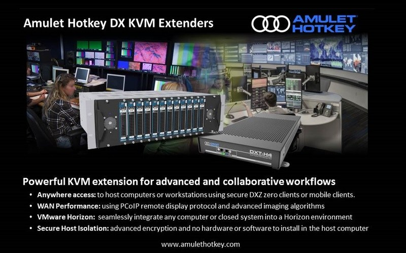 Powerful KVM Extenders that break the distance barrier. Enterprise and Government organizations can benefit from un-paralleled mobility and performance using standard LAN or WAN IP networks to boost flexibility, productivity and team collaboration. Anywhere access, mobile client and secure zero client support. Built-in VMware Horizon support to integrate any workstation or computer system into a Horizon environment. (CNW Group/Amulet Hotkey Ltd.)