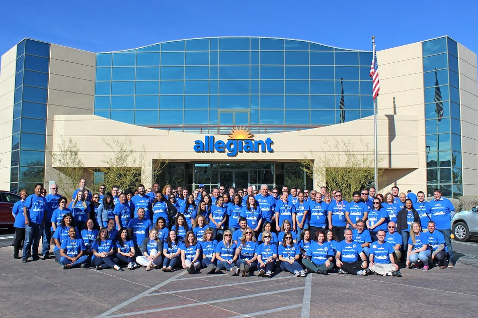 Clark County Commission Chairman Steve Sisolak meets Allegiant team members at the company's headquarters in Las Vegas. Sisolak accepted a company donation on behalf of the Las Vegas Victims' Fund.