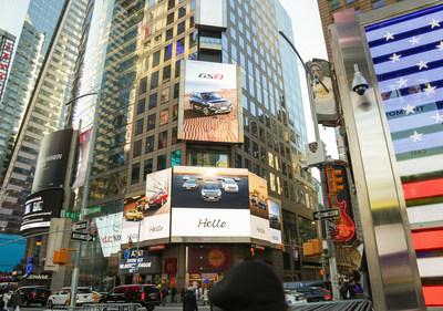 La vidéo promotionnelle de GAC Motor intitulée « Hello World » à Times Square, dans la ville de New York (PRNewsfoto/GAC Motor)