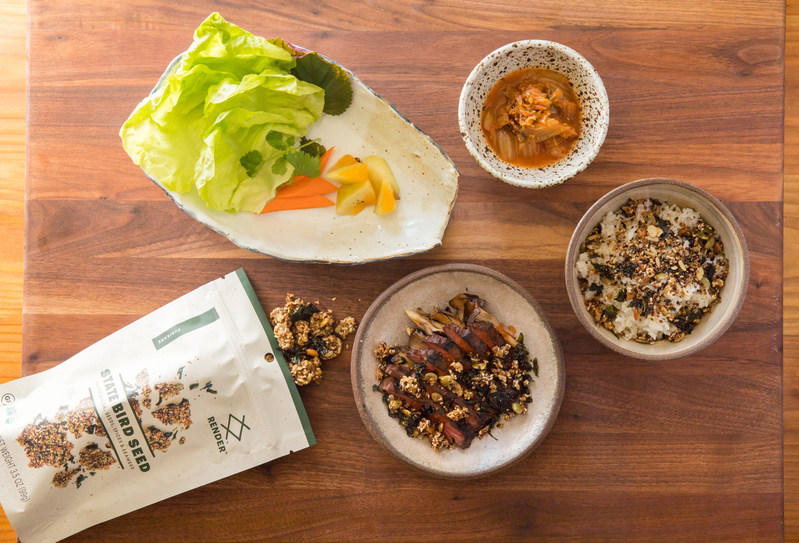 Render announces its inaugural collaboration with James Beard Foundation Award-winning Chefs, Stuart Brioza and Nicole Krasinski, owners of the Michelin- starred restaurants State Bird Provisions and The Progress in San Francisco. The first product to hit shelves is the whimsically named State Bird Seed, a crunchy mix of puffed quinoa, seeds, herbs, and spices that can be enjoyed as a snack or crumbled as a topping on everything from oatmeal and yogurt to salads and meat. (image by Meg Smith)
