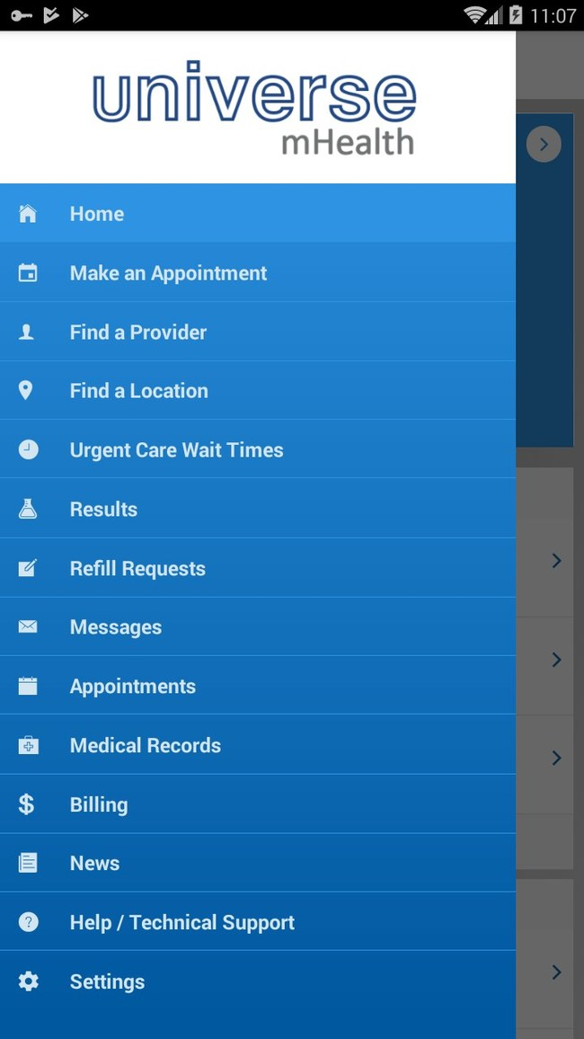 List of features shown in menu from Universe mHealth app
